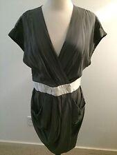 lisli Gray 100% Cupro Cocktail Wrap Dress with Dolman Sleeve Womens Size 10