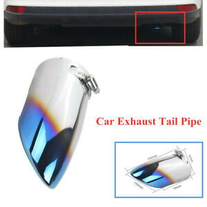 1x Car Roasted 70MM Inlet Blue Exhaust Tail Pipe Throat Muffler Stainless Steel