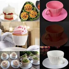 White Silicone Cupcake Cups Muffin Baking Cake Tea Saucer Teacup Mold Mould