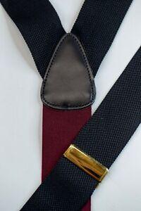 Trafalgar Solid Black Grosgrain Button Suspenders Braces Black Leather Wedding
