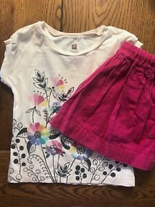 Tea Collection 2 Piece Outfit Floral Top & Polka Dot Skirt Girls Size 4