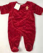 NWT Janie And Jack Layette 0-3 First Christmas Red Quilted Velour Footed Outfit
