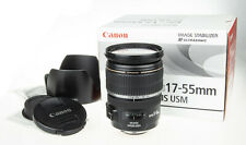 Canon 17-55mm f/2.8 EF-S IS USM zoom lens +box, hood, CD, user man.   scratched
