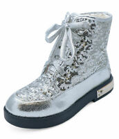 GIRLS KIDS CHILDRENS SILVER SEQUIN LACE-UP BOVVER RETRO ANKLE BOOTS SHOES UK 8-2