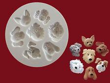 Dog Faces silicone mould sugarcraft Cupcake Fairy cake food grade free p&p