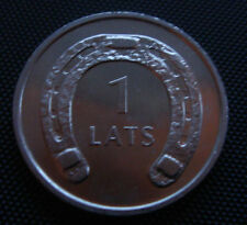 2010 Latvia /Lettonia 1 Lats Horseshoe down coin Type 2  UNC FROM MINT BANK ROLL