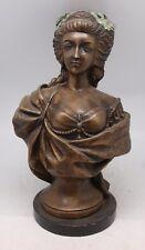 FRENCH bronze buste de marie antoinette sur base marbre