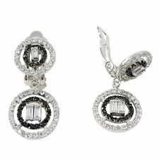 Black & White CZ Baguettes Sterling Silver Open Circles Dangle Clip On Earrings