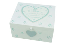 Mum Memory Box Keepsakes Trinkets Jewellery Mothers Day Duck Egg Green F1360A