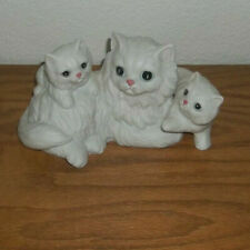 Vintage Homco #1412 White Longhair Cat Kittens Figurine Porcelain Cats Mint