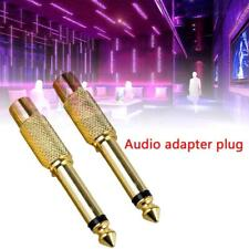 """2Pc 6.35mm 1/4"""" Mono Male Jack to RCA Female Plug Audio Adapter Cable Converter"""