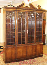 SHALLOW BAKER Medium Mahogany 65 in wide Federal 2 Piece Breakfront Bookcase
