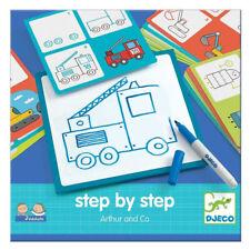 Djeco Schritt Von Fahrzeuge - Abwischbar Auto Und Zug Zeichnung Set Für Kinder