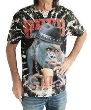 Simio Mono con Cerveza En Negro Hombre Camiseta Talla M, L Manga Corta Algodón