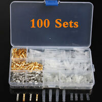 100Sets 3.9mm Motorcycle Bullet Brass Wire Crimp Terminals Connector Male&Female