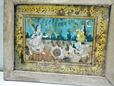 ANTIGUE  Old Fine Miniature Hindu God KERSNA / LAXMI FEET PALYING  Work PaintING