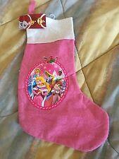 "NWT 18"" Disney Princesses Hot Pink Felt Christmas Stocking with Loop Hanger"