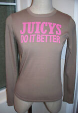Juicy Couture JUICYS DO IT BETTER Mocha Brown Long Sleeve 100% Cotton T-Shirt  S