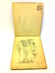 Antique 1925 Pencil Drawn Artists Hand Writing Sketchbook Sketches Notebook Book