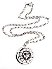 Sun and Moon Faces Pendant Celestial Chain Necklace Bohemian Jewellery