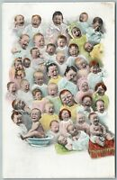MULTIPLE BABIES CRYING ANTIQUE POSTCARD