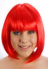 Halloween Femme Démon Rouge Bob Perruque courte adulte costume robe fantaisie