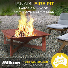 HEAVY 42kg Tanami 85cm RUST FIREPIT 4mm Thick Bowl 7.5mm Legs Outdoor Fireplace