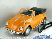VOLKSWAGEN BEETLE MODEL CAR 1:43 SCALE ORANGE CARARAMA CONVERTIBLE CABRIOLET K8Q