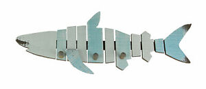 Coastal Blue and White Shark Shaped Distressed Finish Wooden Wall Hook