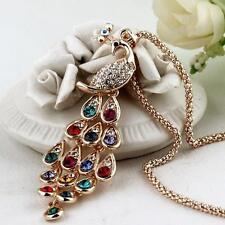 Damen Vintage Retro  Halskette Pfau Anhänger Strass Stein Modeschmuck Neu