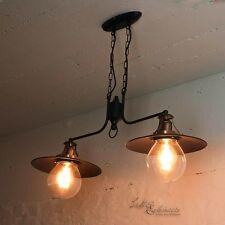 vintage Luminaire suspendu en cuivre 2x E27 COUVERTURE Suspensions table