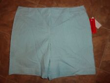 Women's IZOD Stretch Aqua Splash Striped Bermuda Shorts Size 10 NWT