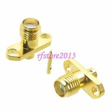 """1pce Connector RP-SMA female 2-holes Flange solder RG405 0.086"""" cable RF COAXIAL"""