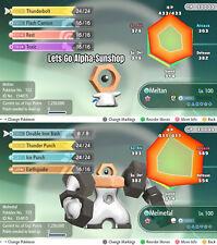 Shiny 6IV Melmetal + Meltan Max AVs Newly Released Pokemon Let's Go Eevee