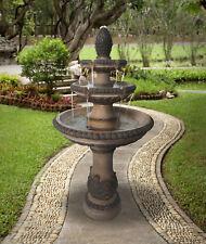 Outdoor Tiered Fountain Large Waterfall Cascade Stone Water Bird Bath  3 - Tier