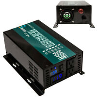 800W Pure Sine Wave Inverter Solar Panel 12/24 VDC to 120/220 VAC Power Inverter
