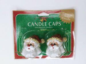 2 Pack Candle Caps Christmas Santa Head Decorative Tops Vintage Taper