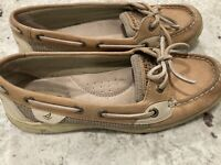 Womens 7M Sperry Top-Sider Angelfish Boat Shoes Linen Oat Leather Slip On Tan