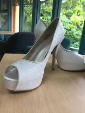 Australian Betts Stiletto Pumps Peep Toe Glitter White Size 10 Used Condition