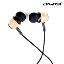 Chic Original AWEI Super Bass Wooden Headsets In-ear Noise Isolation Earphones