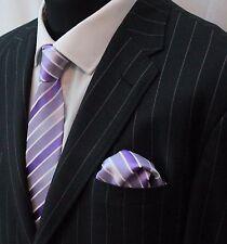 Tie Neck Tie with Handkerchief Mauve & White