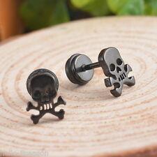 Men's black skull earrings Stainless Steel Mens Ear Plug Earring Stud Stretche