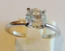 bague rétro solitaire CZ diamant 4 griffes couleur argent /or rodié taille 54