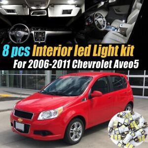 8Pc Super White Car Interior LED Light Bulb Kit for 2006-2011 Chevrolet Aveo5