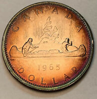 1965 CANADA SILVER DOLLAR GEM TONED RAINBOW MONSTER COLOR UNC (DR)