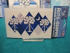"Palmetto Palm & Moon 5 1/2"" x 3"" Window Decal Navy Blue Surface Mount Sticker"