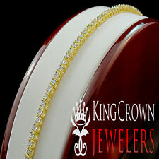 REAL GENUINE DIAMOND MEN LADIES 1 ROW  YELLOW GOLD FINISH TENNIS BRACELET 7.75''