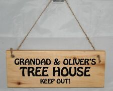 Personalised Any Name Tree House Sign Plaque Outdoor Garden Patio Rustic Wood Ou
