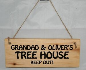 Personalised Name Tree House Treehouse Sign Plaque Outdoor Garden Rustic Wood