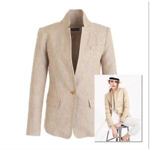 $198 J.CREW 4P/2 Regent Blazer in Linen BARLEY BEIGE Style C0575